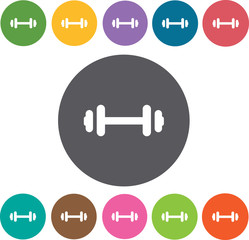 Dumbbels icon.Hotel icons set. Round colourful 12 buttons. Illus