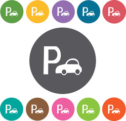 Parking Sign icon. Hotel icons set. Round colourful 12 buttons.
