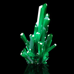 3d Illustration Of Grown Green Shining Crystals