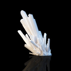 Grown White Shining Crystals (Science Picture)