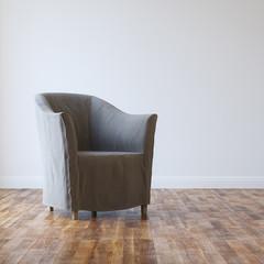 Grey Cozy Armchair In Empty Room Interior With Parquet
