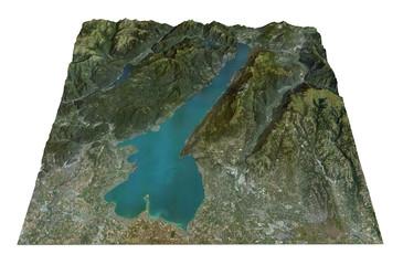 Lago di Garda, vista aerea, mappa, Lombardia Veneto Italia