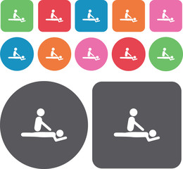 Spa icons set. Round and rectangle colourful 12 buttons. Illustr
