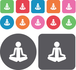 Yoga. Spa icons set. Round and rectangle colourful 12 buttons. I