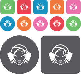 Face Spa icons set. Round and rectangle colourful 12 buttons. Il