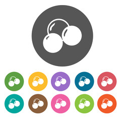 Hair band icon set. Round colourful 12 buttons. Illustration eps