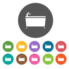 Bathtub Icons Set. Round colourful 12 buttons. Illustration eps1