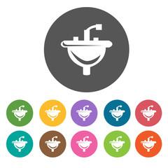 Washbasin icons set. Round colourful 12 buttons. Illustration ep