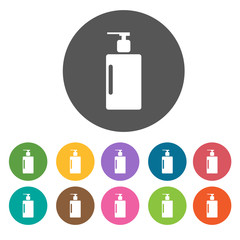shampoo bottle icon. Round colourful 12 buttons. Illustration ep