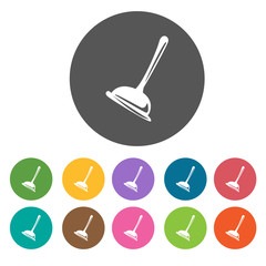 Toilet plunger icons set. Round colourful 12 buttons. Illustrati