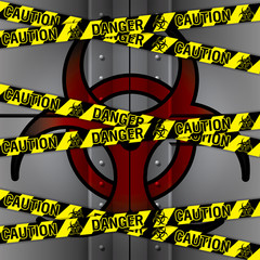 illustration of police security tapes, Bio hazard Lab iron Door