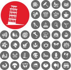 Italy icons set. Illustration eps10