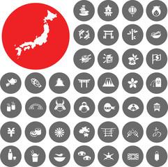Japan icons set. Illustration eps10