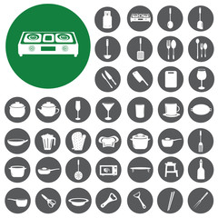 Kitchen tool collection icons set. Illustration eps10