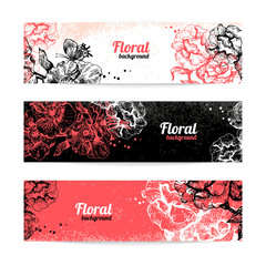Banners with floral background. Hand drawn illustration of roses