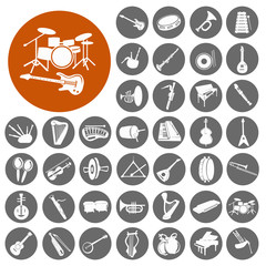 Music instruments  icon collection. Illustration eps10