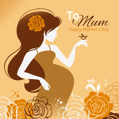 Vintage background with silhouette of beautiful pregnant woman.