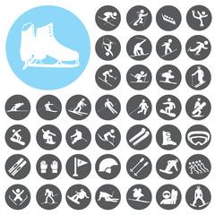 Ski sport icons set. Illustration eps10