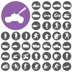 Soldier tank icons set. Illustration eps10
