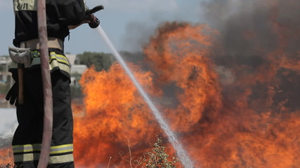 Fire brigade extinguishes the fire