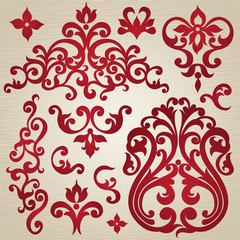 Vector set with ornament in Victorian style. Ornate elements.