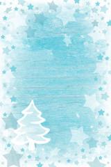 Weihnachtskarte in Türkis, Blau und Weiß; Weihnachtspapier