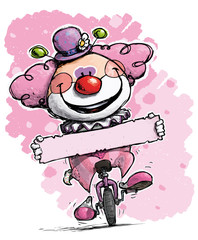 Clown on Unicyle Holding a Label - Girl Colors