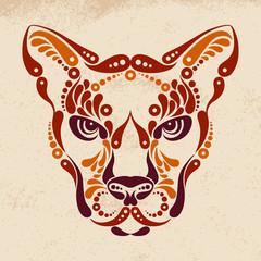 Puma tattoo, color symbol decoration illustration