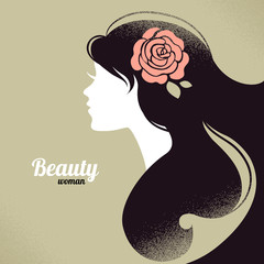 Vintage beautiful girl silhouette