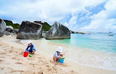 Kids playing at beach