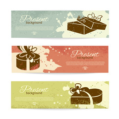 Set of vintage banners with present background with gift box