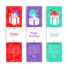 Set of stylish banners with present background with gift box