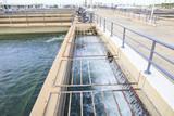 pure and clean water flowing in waterworks industry estate