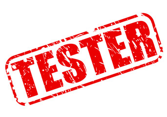 Tester red stamp text