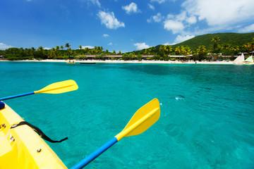 Kayaking at tropical ocean