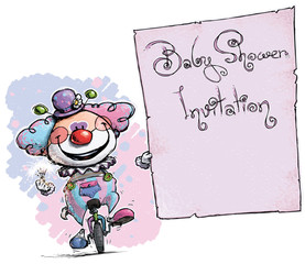 Clown on Unicyle Holding Invitation-Baby Shower Party