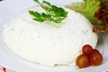 Cream cheese & cut chives inside