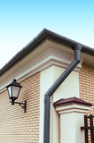 Rain gutter with drainpipe poster