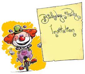 Clown on Unicyle Holding Invitation