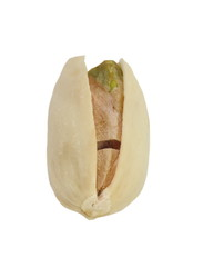Healthy toasted pistachios on a white background
