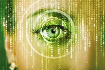 Modern cyber woman with matrix eye
