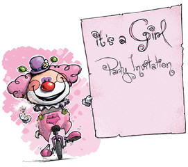 Clown on Unicyle Holding Invitation-It's a Girl Party
