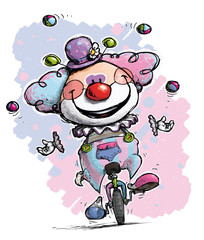 Clown on Unicyle Juggling Girlie Colors