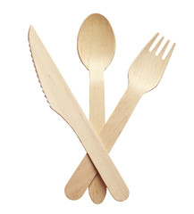 Wooden fork, knife and spoon
