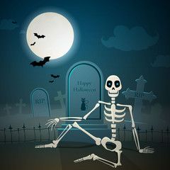 Vector Illustration of a Halloween Skeleton