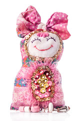 Handmade rag doll isolated on white background
