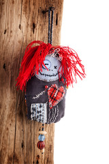 Handmade Pincushion doll on wooden background
