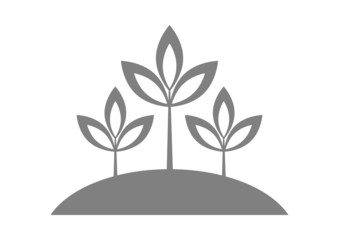 Grey plant icon on white background