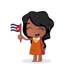 Cute little girl waving a Flag