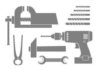 Grey tool icons on white background